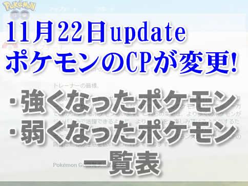【ポケモンGO】CPが変更!CP調整で強化・弱体化されたポケモン一覧表
