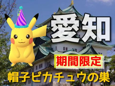 【ポケモンGO】愛知(名古屋)の帽子ピカチュウの巣(最新の出現場所)
